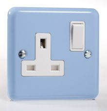 Varilight Pastel 1 Gang 13A Switched Socket Duck Egg Blue XY4W.DB